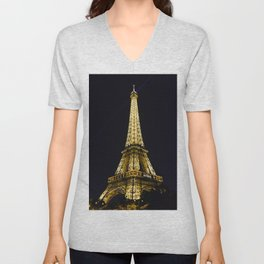 Golden Eiffel Tower Unisex V-Neck
