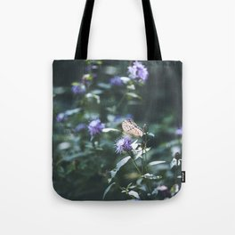 Butterfly on the wild purple flowers Tote Bag