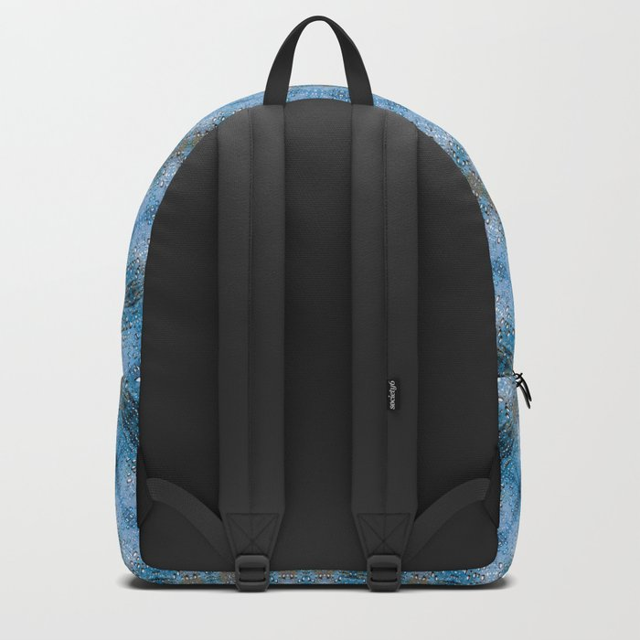 Kaleidoscope Blue Drops Pattern Backpack
