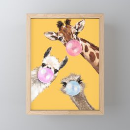 Bubble Gum Gang in Yellow Framed Mini Art Print