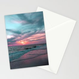 Pink and Teal Beach Sunset tropical vacation Stationery Cards