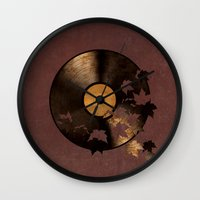 autumn Wall Clocks featuring Autumn Song  by Terry Fan