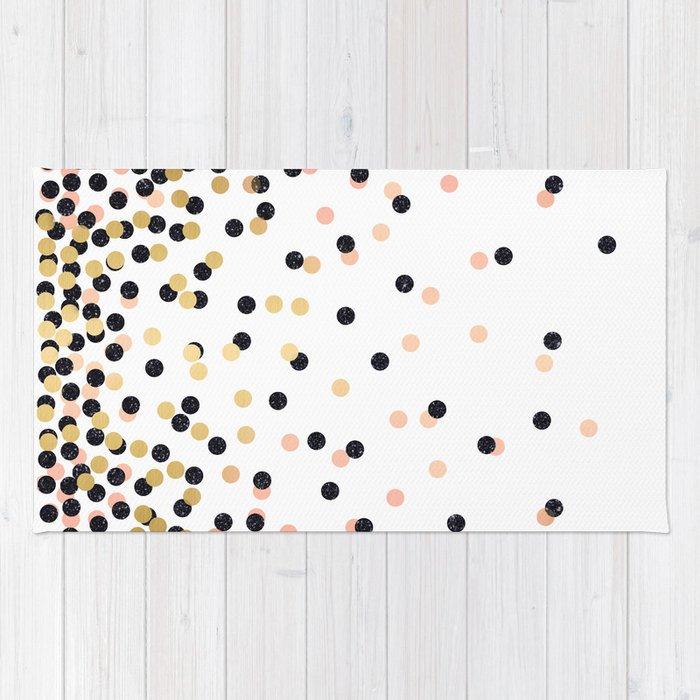Pink & Black Polka Dots Rug By Cafelab