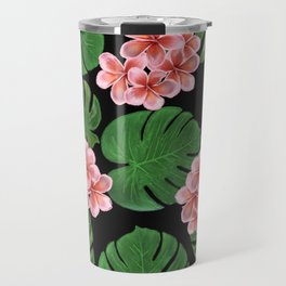 Tropical Floral Print Black Travel Mug