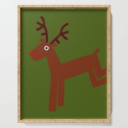 Reindeer-Green Serving Tray