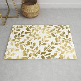 Gold Leaves on White Rug