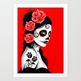 Red Day of the Dead Sugar Skull Girl Art Print