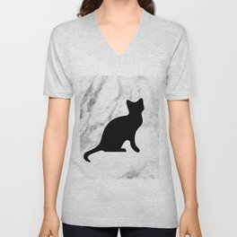 Marble black cat Unisex V-Neck