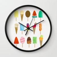 ice cream Wall Clocks featuring Ice Cream by Céline Dscps