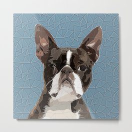Boston Terrier Polygonal Art Metal Print