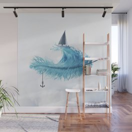 Water Feather • Blue Feather (horizontal) Wall Mural