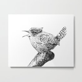 Wren bird ink painting Metal Print