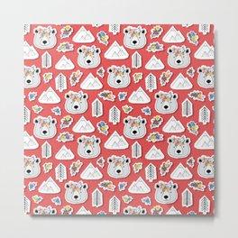 Canadian Bear Papercut Stickers Metal Print