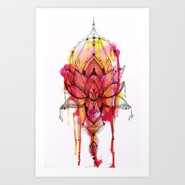 Lotus Flower Colour Drip Art Print