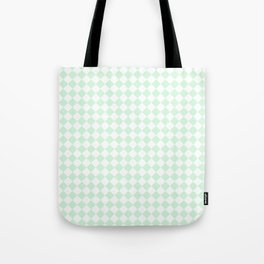 Small Diamonds - White and Pastel Green Tote Bag