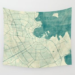 Doha Map Blue Vintage Wall Tapestry