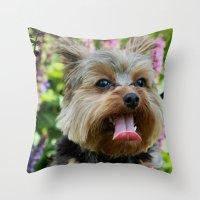 yorkie Throw Pillows featuring Happy Yorkie by IowaShots