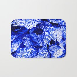 Speckled Blue & White Leaves Bath Mat