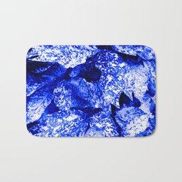 Speckled Blue & White Leaves Bath Mat