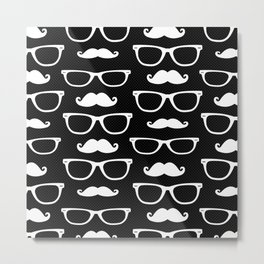 Hipster Pattern Black and White Metal Print