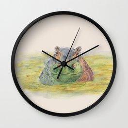 Ink Animals of Africa - Harriet Hippo Wall Clock