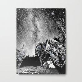 'Night Camp' Stars Night Sky - Milky Way - Camping Wall Art Decor Metal Print