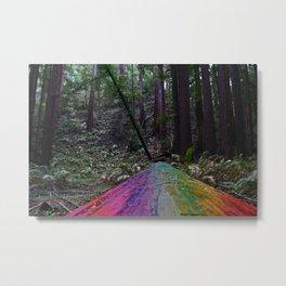 Rainbow Wood Road Metal Print