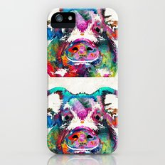 Colorful Pig Art - Squeal Appeal - By Sharon Cummings iPhone (5, 5s) Slim Case