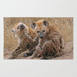 Young hyenas, Africa wildlife Rug