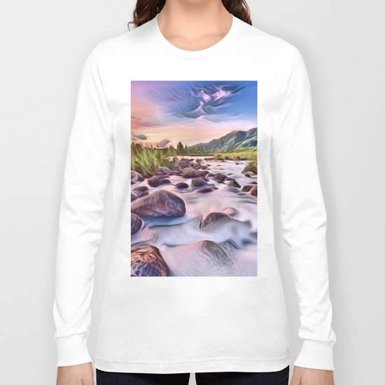 Gorgeous Epic River in Landscape with Rocks Long Sleeve T-shirt