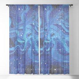 Night Sky Stars Galaxy | Watercolor Nebula Sheer Curtain