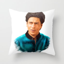 Shah Rukh Khan is a King of Bollywood, Digital Painting Throw Pillow
