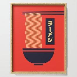 Ramen Japanese Food Noodle Bowl Chopsticks - Red Serving Tray