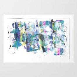 Green Blue Abstract with Black Circles Art Print