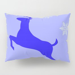 DECORATIVE LEAPING CHRISTMAS  BLUE DEER & SNOWFLAKES Pillow Sham