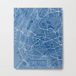 New York City Map of the USA - Blueprint Metal Print