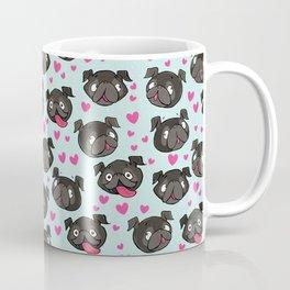 black pugs and hearts cute pug Coffee Mug