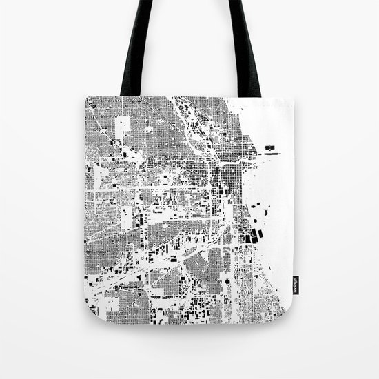 Chicago Map Schwarzplan Only Buildings Tote Bag