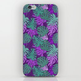 Pattern with monstera leaves iPhone Skin