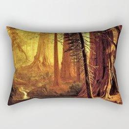 Giant Redwood Trees of California by Albert Bierstadt Rectangular Pillow