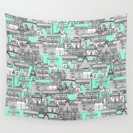 Paris toile aquamarine Wall Tapestry