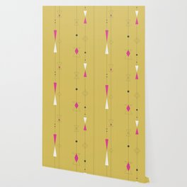 Midcentury gold and pink Wallpaper