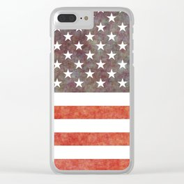 Grunge USA flag Clear iPhone Case