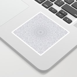 Most Detailed Mandala! Cool Gray White Color Intricate Detail Ethnic Mandalas Zentangle Maze Pattern Sticker
