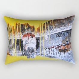 Mixed Media Art Yellow Rain Rectangular Pillow