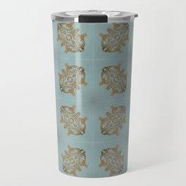 Soft Teal Blue & Gold No. 6 Travel Mug