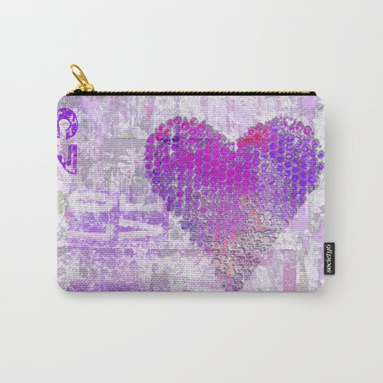 Pink heart mixed media art Carry-All Pouch