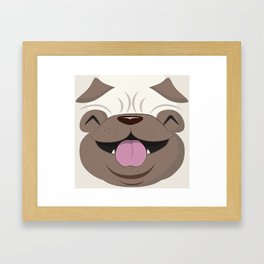 Koko Pug Smiling with closed eyes Framed Art Print