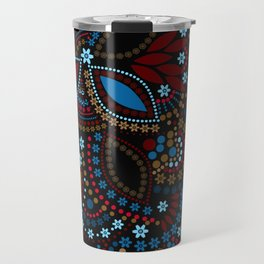Scattering beads . Black background Country . Travel Mug