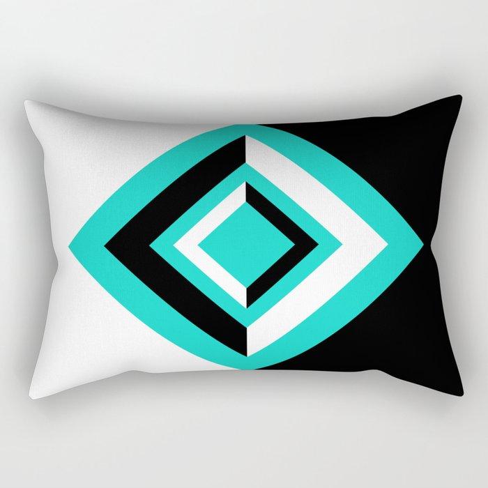Teal Black and White Diamond Shapes Digital Illustration - Artwork Rectangular Pillow